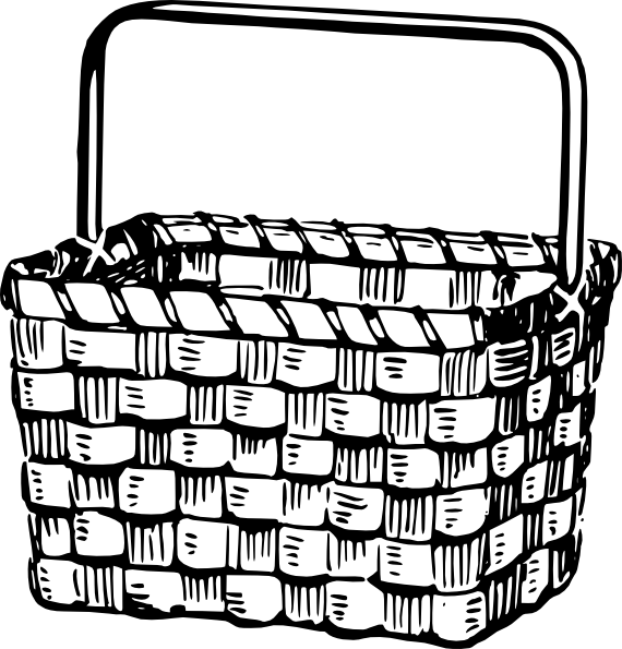 Picnic basket clip art black and white free 7