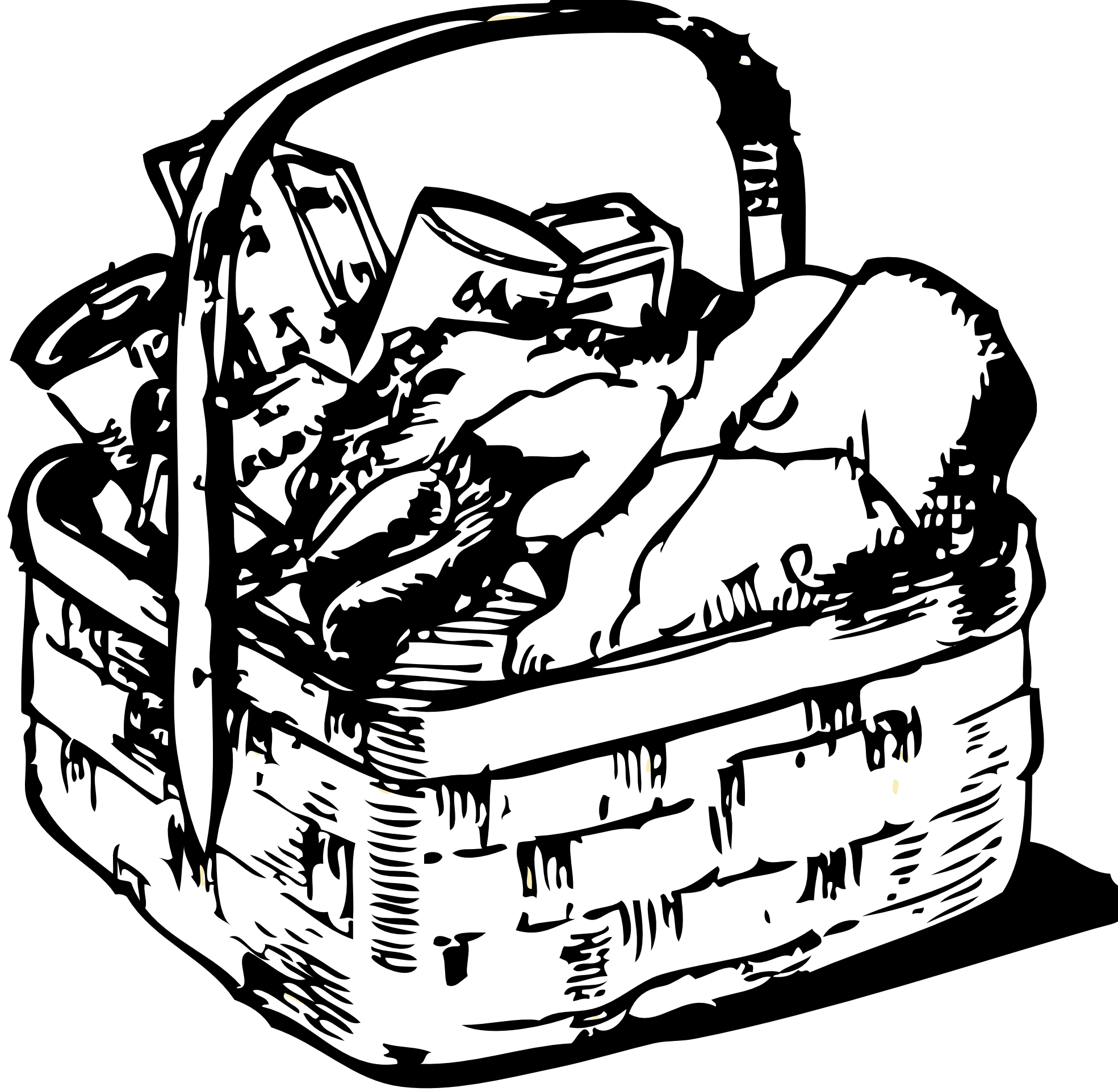 Picnic basket clipart black and white clipartfox 2