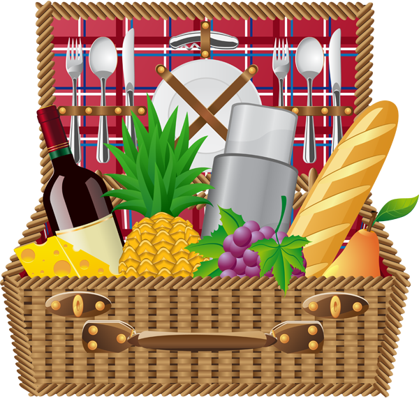 Picnic basket picnic blanket and basket clip art info