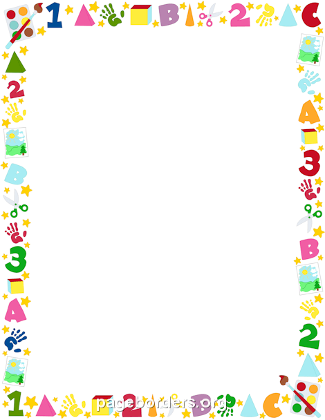 Preschool border clip art page and vector graphics