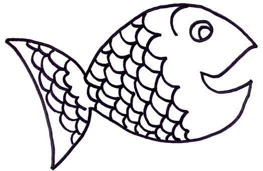 rainbow fish outline clipart 2