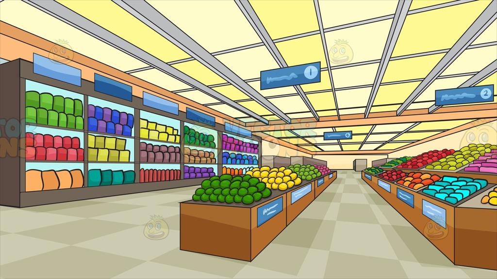 Supermarket grocery aisle clipart clipartfest