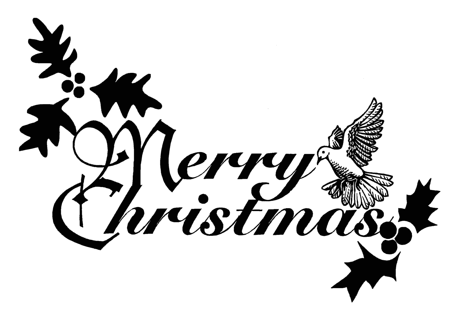 Christmas ornament  black and white merry christmas ornament clipart