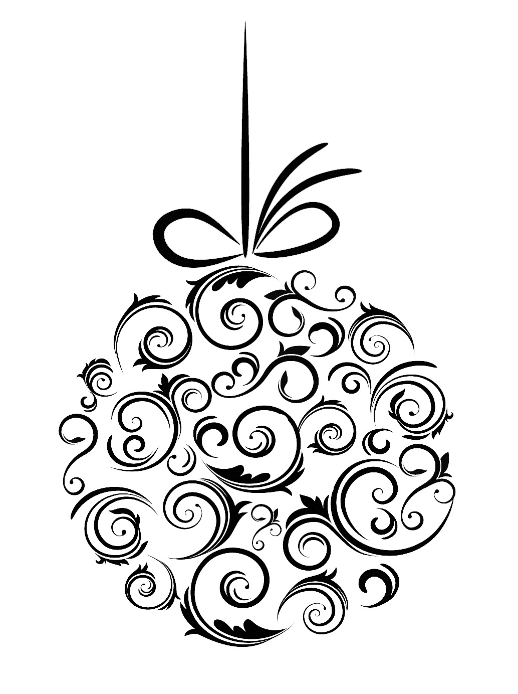 Christmas ornament  black and white xmas tree ornament clipart black and white clipartfest