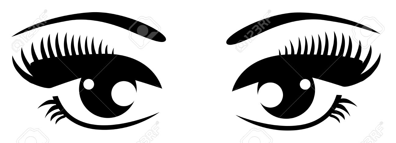 Eyes  black and white clipart eyes black and white with eyelashes clipartfest