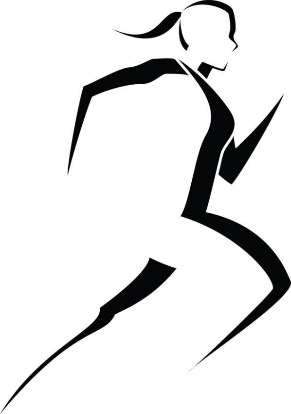 Girl running 5k runner girl clipart