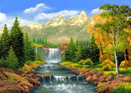 Mountain stream clipart wallpaper 3