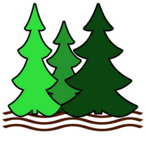 Pine tree stream clipart