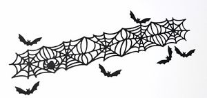 Halloween spider web border with 6 bats die cut embellishment