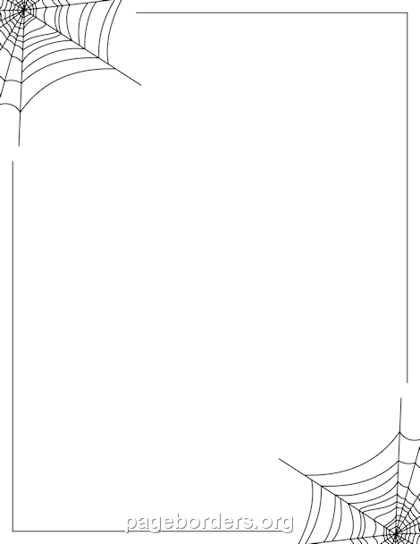 Spider web border clip art page and vector graphics