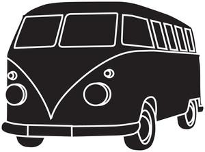 Truck  black and white bus clipart image a black and white van