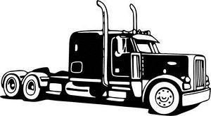 Truck  black and white semi truck clipart black and white free image