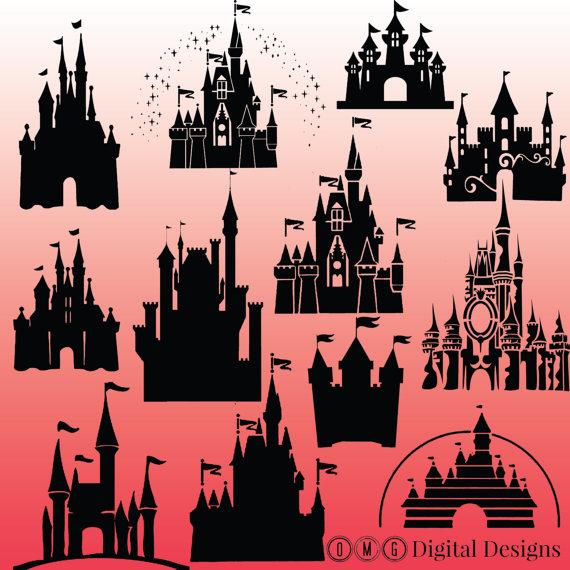 Cinderella castle silhouette clipart images