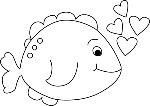 Fish black and white cute black and white valentine'day fish clip art