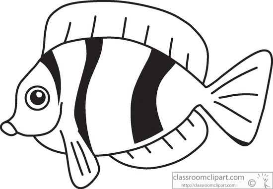 Fish black and white tropical fish clip art free