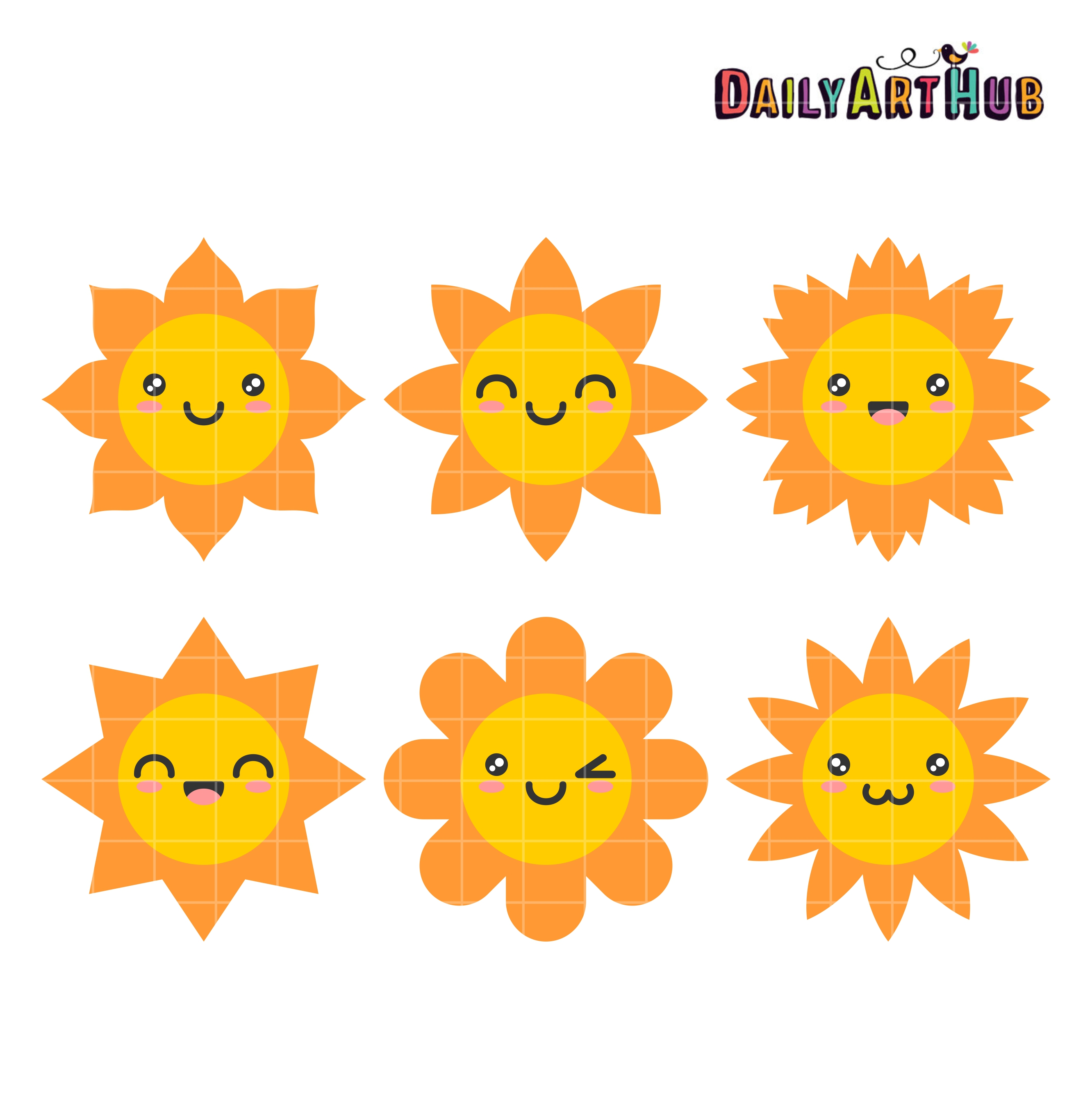 Happy sun clip art set daily hub