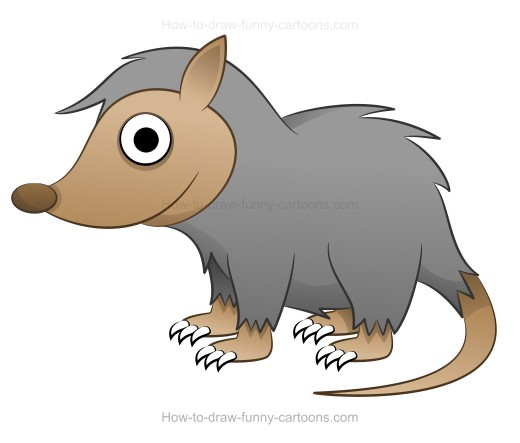 How to draw a cartoon possum misc advanced clip art