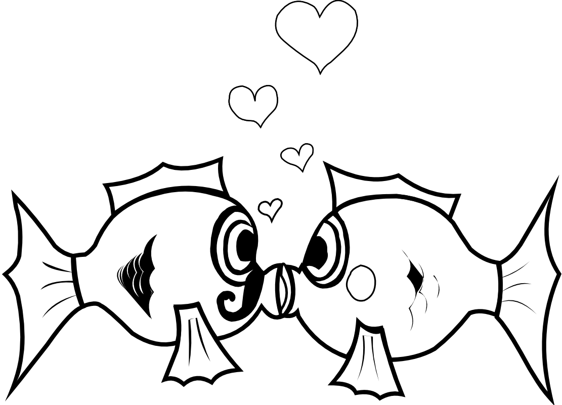 Kissing fish black and white clipart