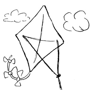 Kite  black and white free clipart images for phonics worksheets free to