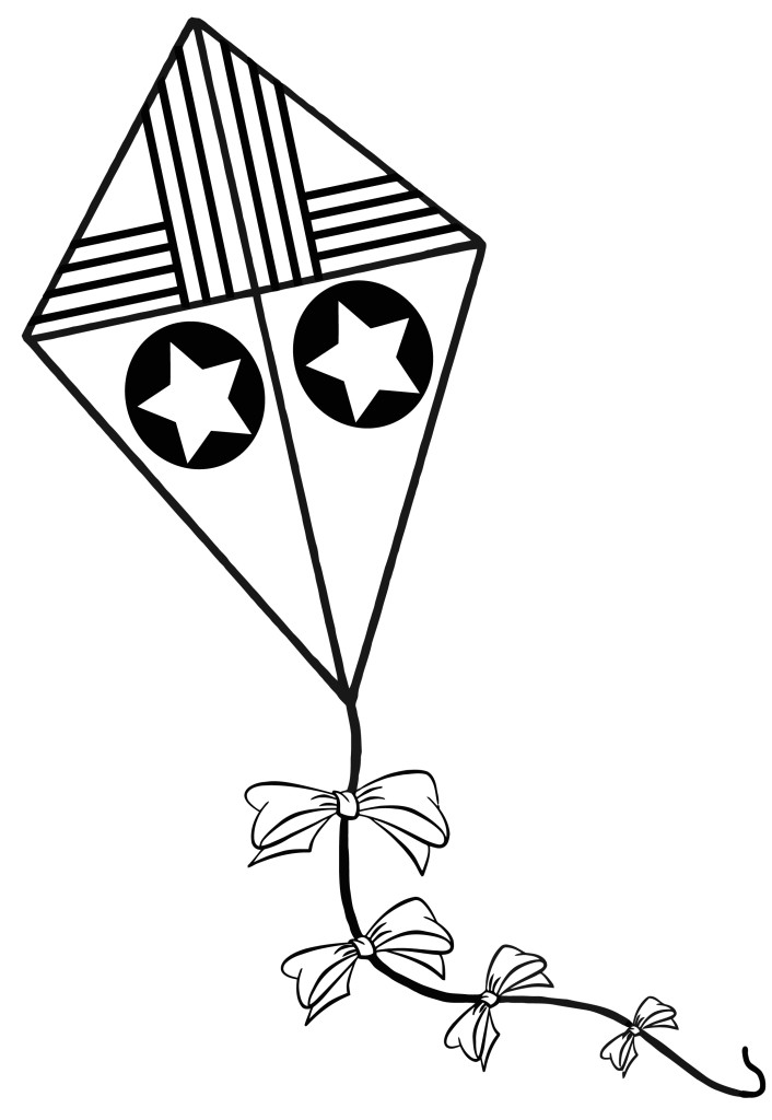 Kite  black and white kite coloring pages free clipart images
