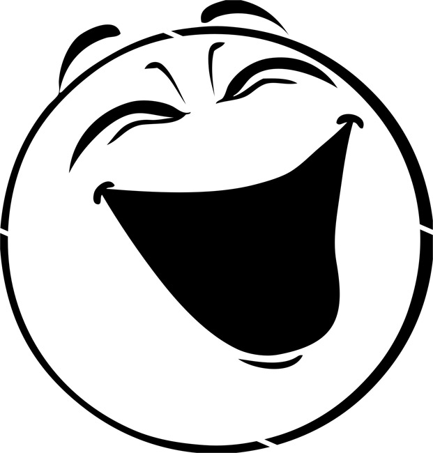 Smiley face  black and white laughing face clip art