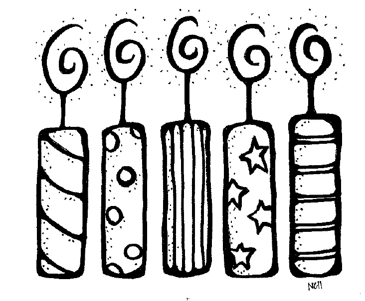 Candle  black and white birthday black and white clipart collection