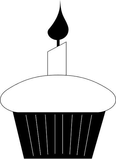Candle  black and white cupcake clipart black and white 3