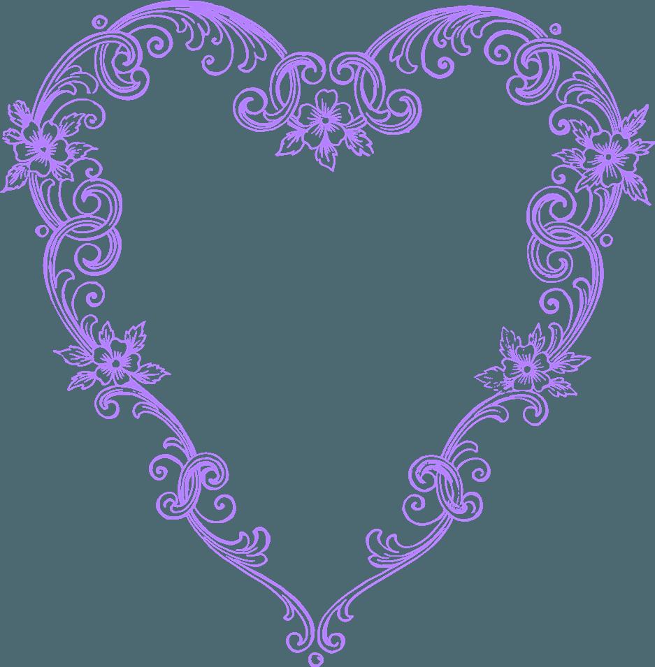 Free images fancy vintage purple heart clip art image