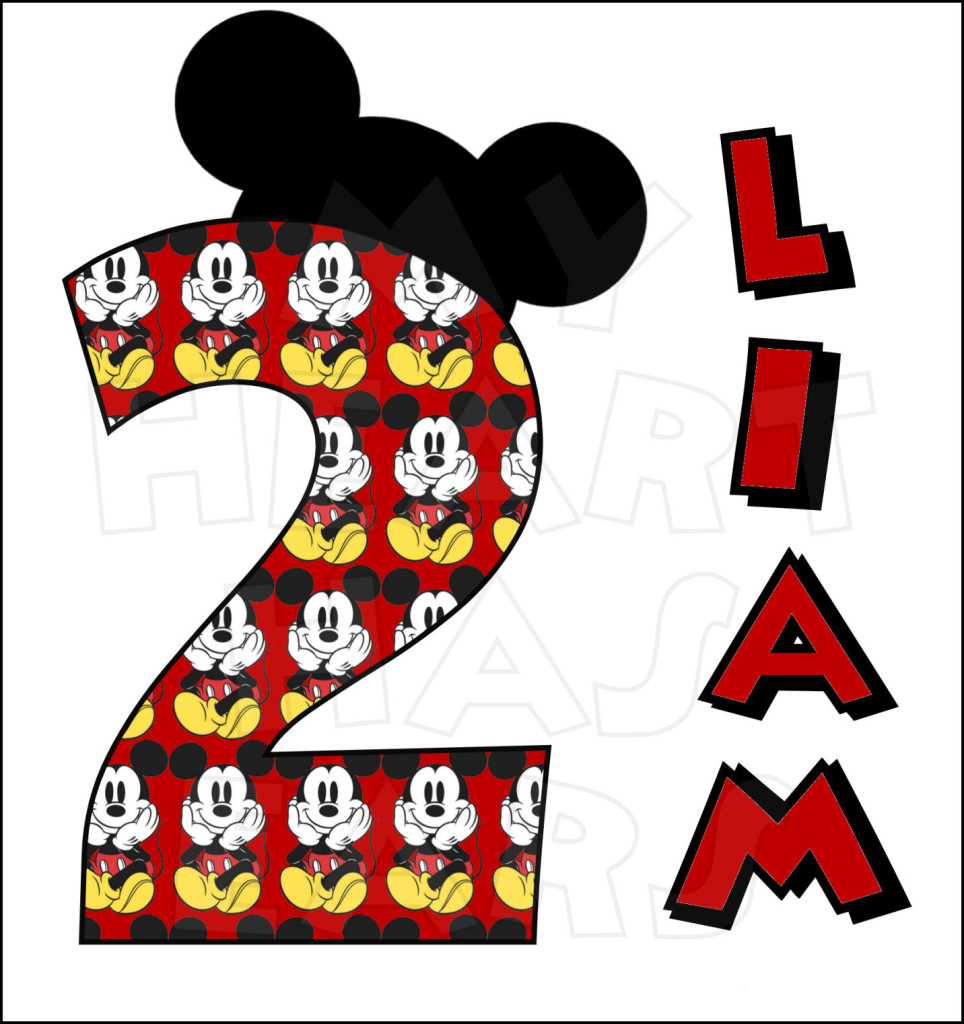 Mickey mouse birthday personalized any name and number custom clip art