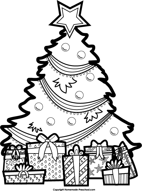 Present  black and white christmas tree black and white christmas with presents clipart