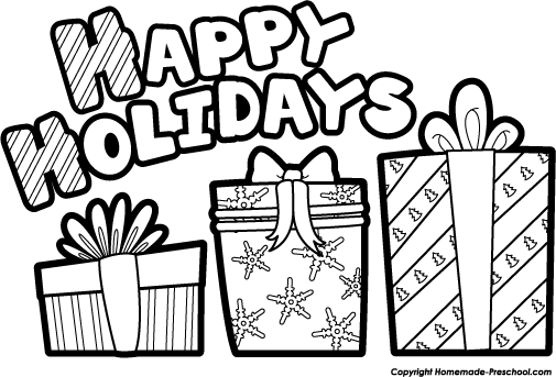 Present  black and white free holiday clipart black and white collection 2
