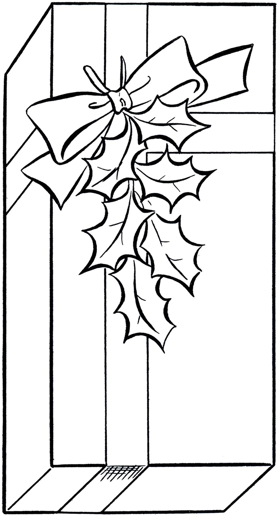 Present  black and white holiday t clip art image coloring page the graphics fairy