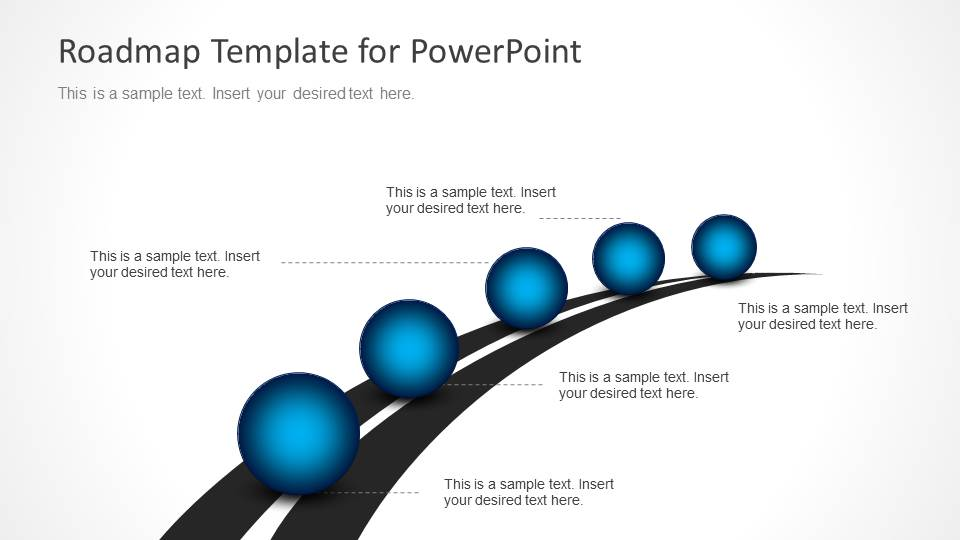 Roadmap timeline with spheres for powerpoint clip art