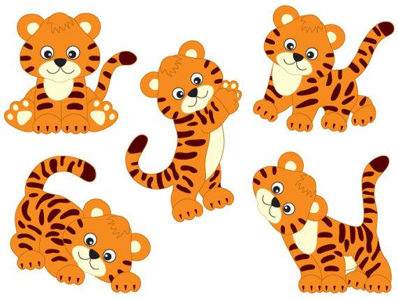 Baby tiger tiger clipart digital vector safari african animal tigers