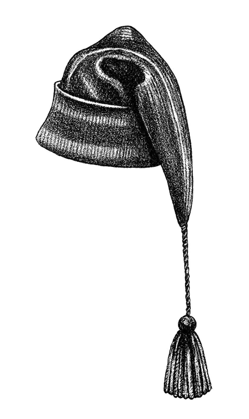 Winter hat vintage hat clipart warm winter toque long with tassel