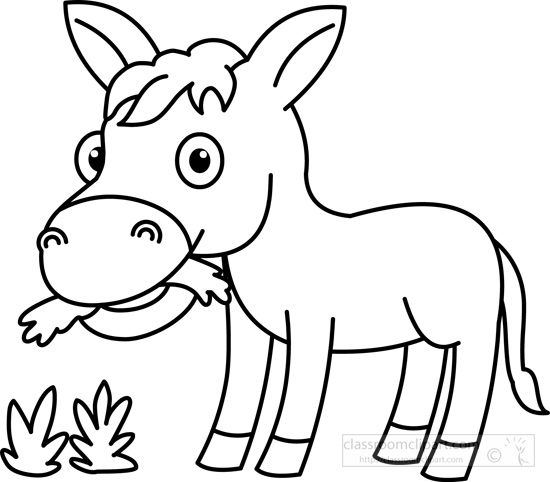 Grass  black and white animals clipart donkey eating grass black white outline