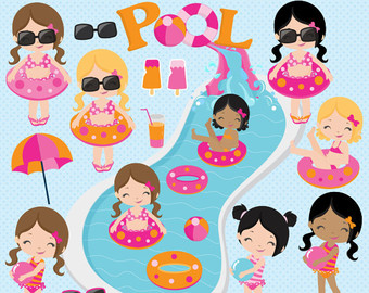 Pool party clipart summer water slide