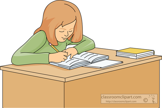 Student working at desk clipart