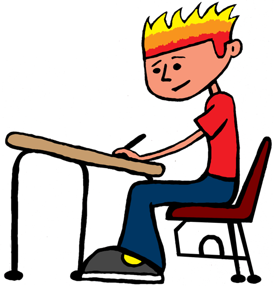 Student working clipart 3