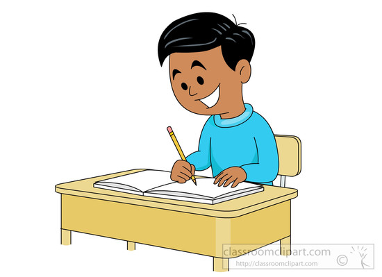 Student working free writing clipart
