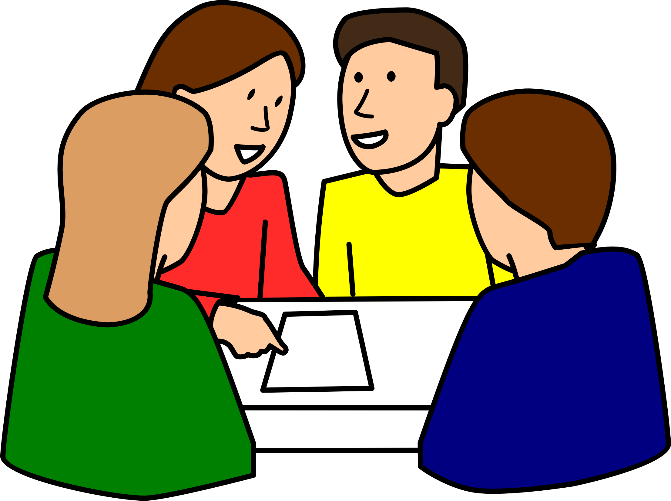 Student working students working in groups clipart