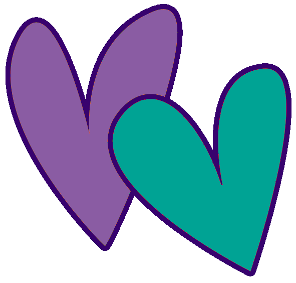 Teal double heart clipart