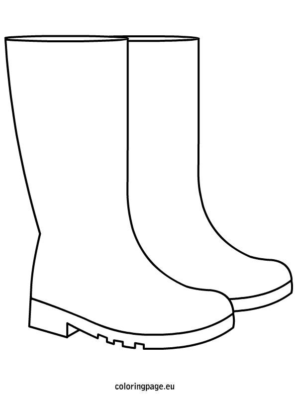 Autumn rain boots coloring page clip art