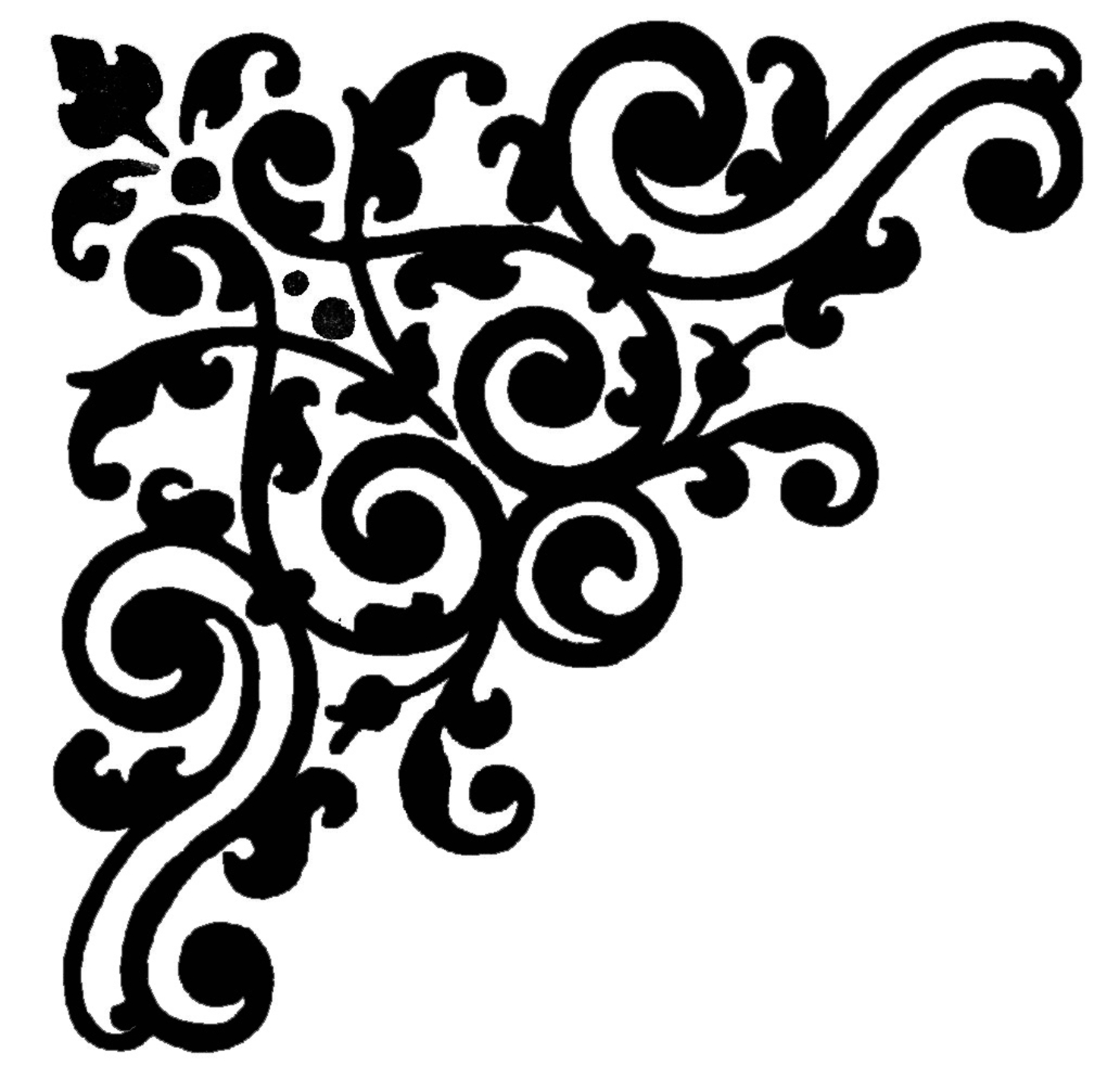 Corner border free damask clipart the cliparts