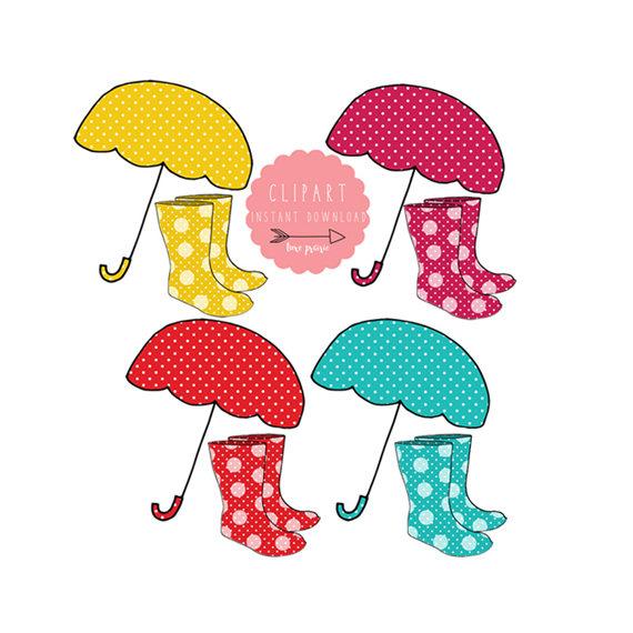 Polka dot umbrellas clipart rain boots