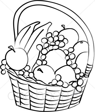 Gift basket black and white fruit basket clipart wedding picnic