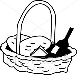 Gift basket black and white picnic basket clipart wedding