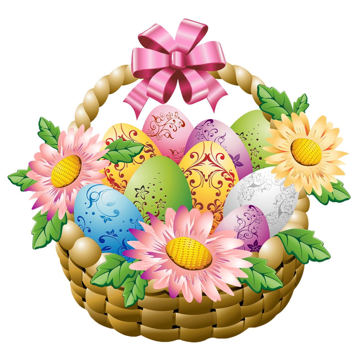 Gift basket t clipart flower basket pencil and in color