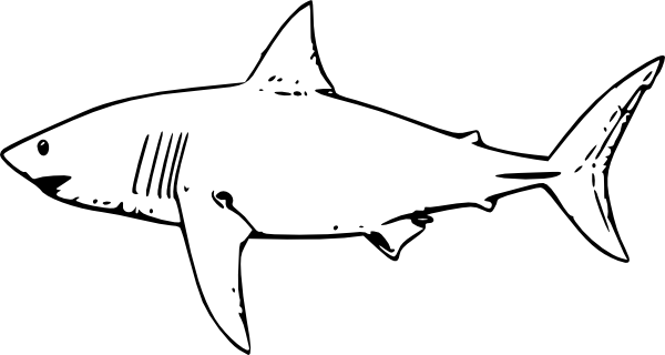 Shark black and white great white shark clip art at vector clip art