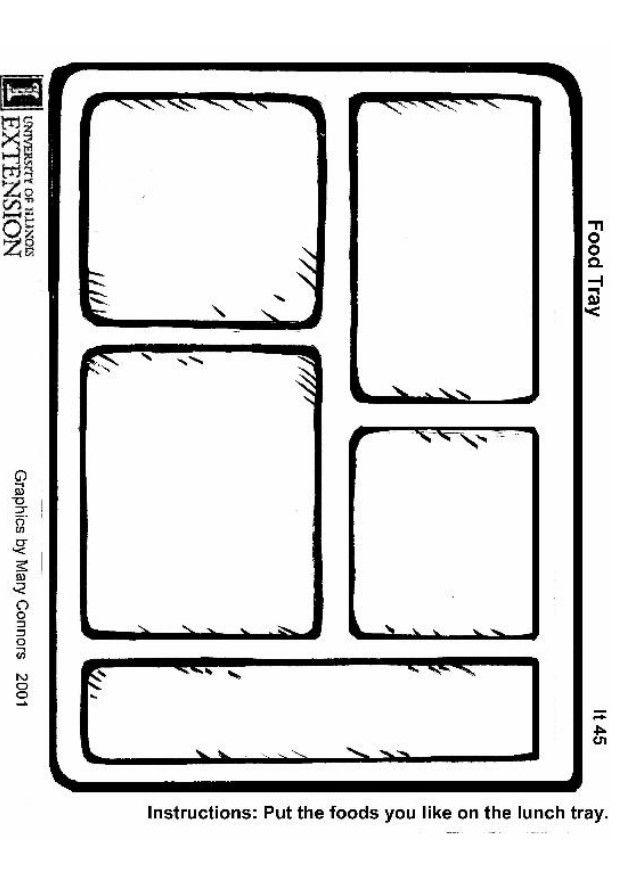 Coloring page of lunch tray pages for all ages clip art